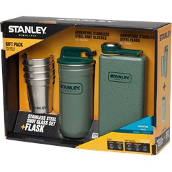 Shot Glass Set & Flask, Stainless Steel