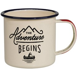 Adventure Begins Cream Enamel Mug