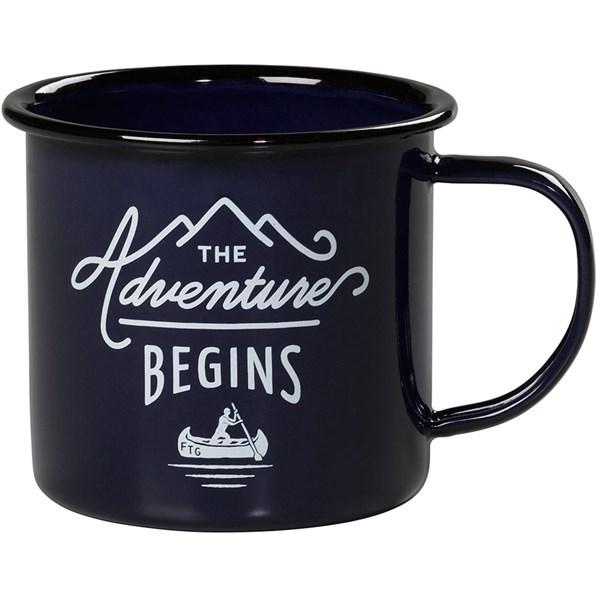 Adventure Begins Navy Enamel Mug
