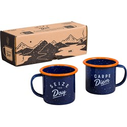 Espresso Navy Enamel Mugs, 2 pcs